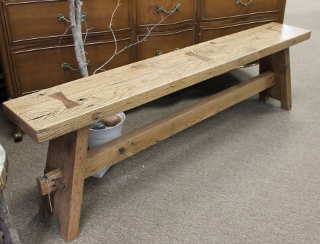 Ronald Davis custom bench built without nails or screws